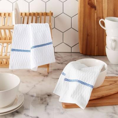 "Clorox 6pk Antimicrobial 12"" X 12"" Dish Cloth Set - White/Navy Blue"