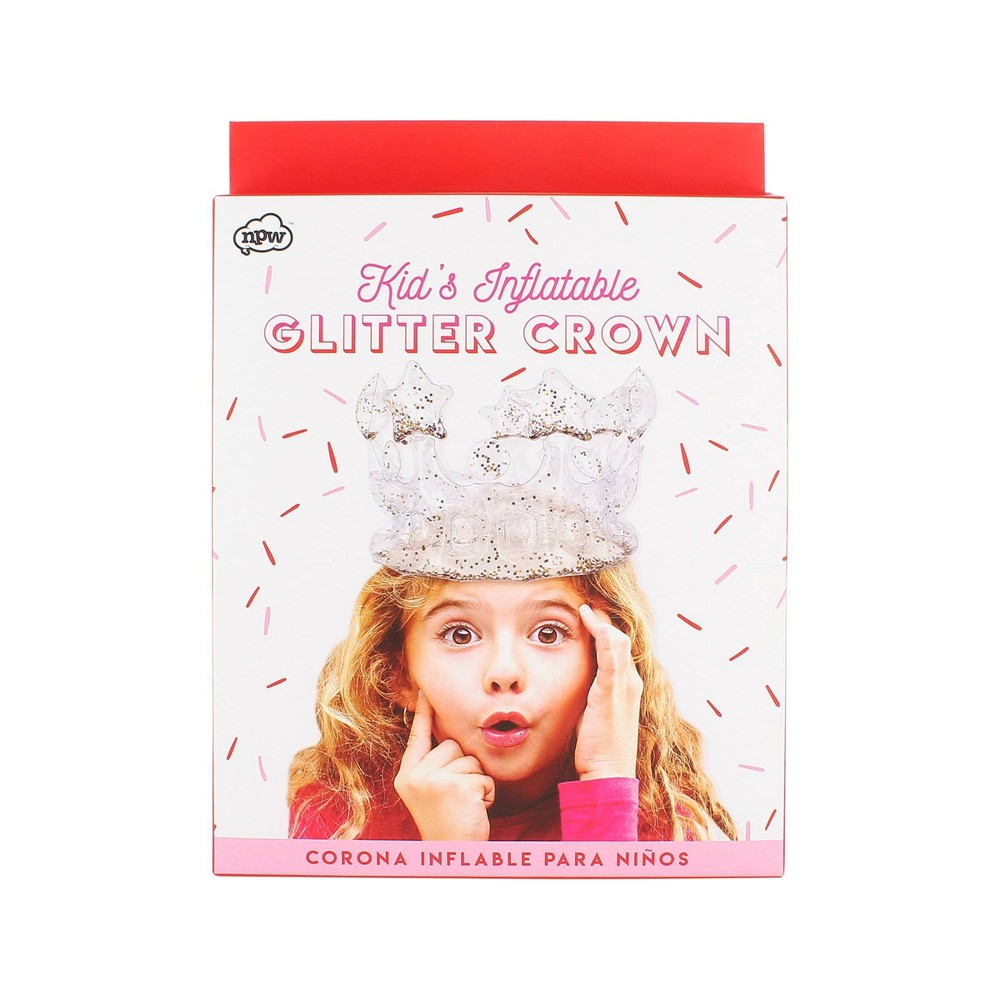 Image of Inflatable Glitter Crown Silver