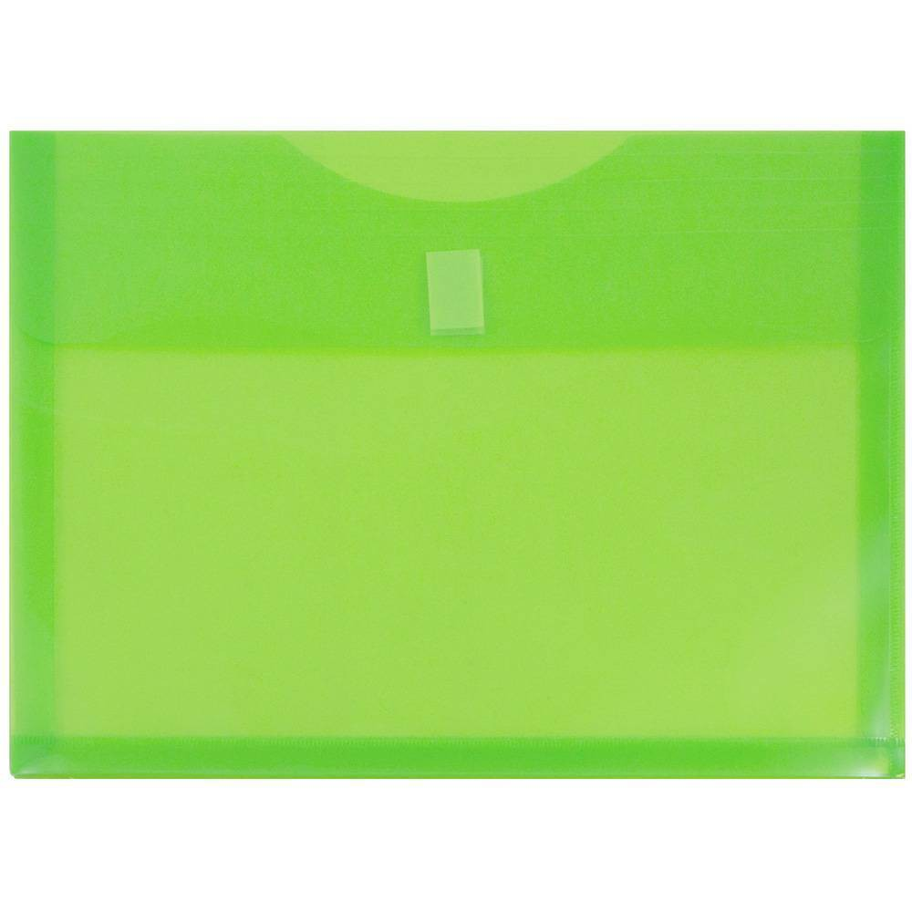 Jam Paper 9 3/4'' x 13'' 12pk Plastic Envelopes with Hook & Loop Closure, 1 Expansion, Letter Booklet - Lime Green