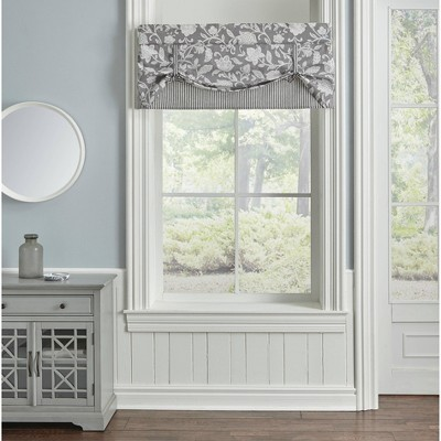 "19""x60"" Stencil Vine Valance Charcoal - Waverly"