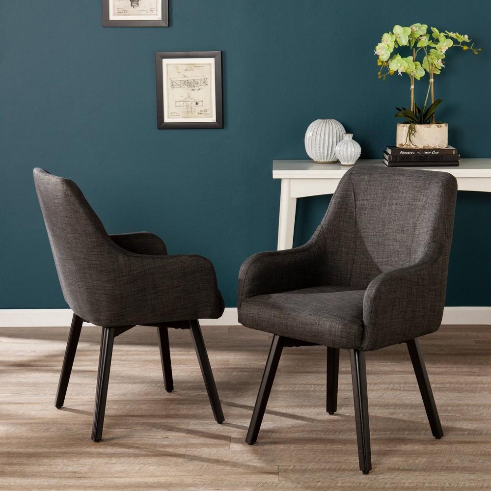 Image of 2pc Stineriss Swivel Arm Chair Dark Gray - Aiden Lane