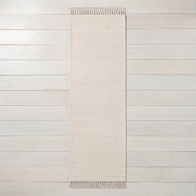"""2'4"""" x 7' Textured Border Stripe Runner Twilight Taupe - Hearth & Hand™ with Magnolia"""