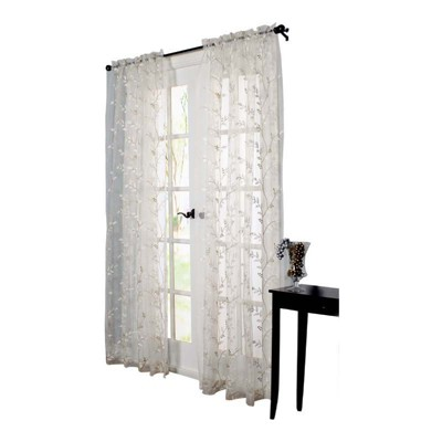 Habitat Venice An Embroidered Sheer Tailored Top Window Panel White