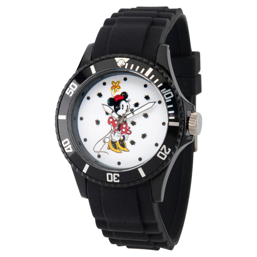 Women's Disney Minnie Mouse Black Plastic Watch, Black Bezel - Black
