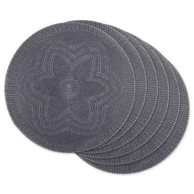 6pk Plastic Woven Floral Placemats Gray - Design Imports