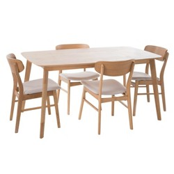 "60"" 5pc Lucious Dining Set - Light Beige/ Oak - Christopher Knight Home"