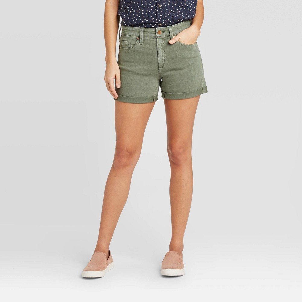 Bring a subtle pop of color to your denim collection with the High-Rise Jean Shorts from Universal Thread?. A versatile warm-weather staple, these green jean shorts will have you ready for sunny days and warm nights, complete with a soft, breathable fabric that provides all-day comfort. Cut in a high-waisted silhouette, they flatter the figure while being easy to pair with a range of tops to suit your aesthetic, and rolled cuffs give them a more easygoing vibe. Style yourself a casual-chic look when you pair these high-rise denim shorts with an off-the-shoulder top and slide-on mules, or go for a more simple outfit with a tucked-in graphic tee and pair of platform sneaks. Size: 16. Color: olive. Gender: female. Age Group: adult. Pattern: Solid. Material: Cotton.