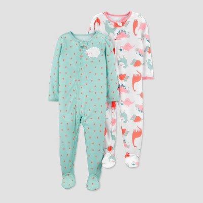 Toddler Girls' 2pk Sheep/Dino Footed Pajama - Just One You® made by carter's Green