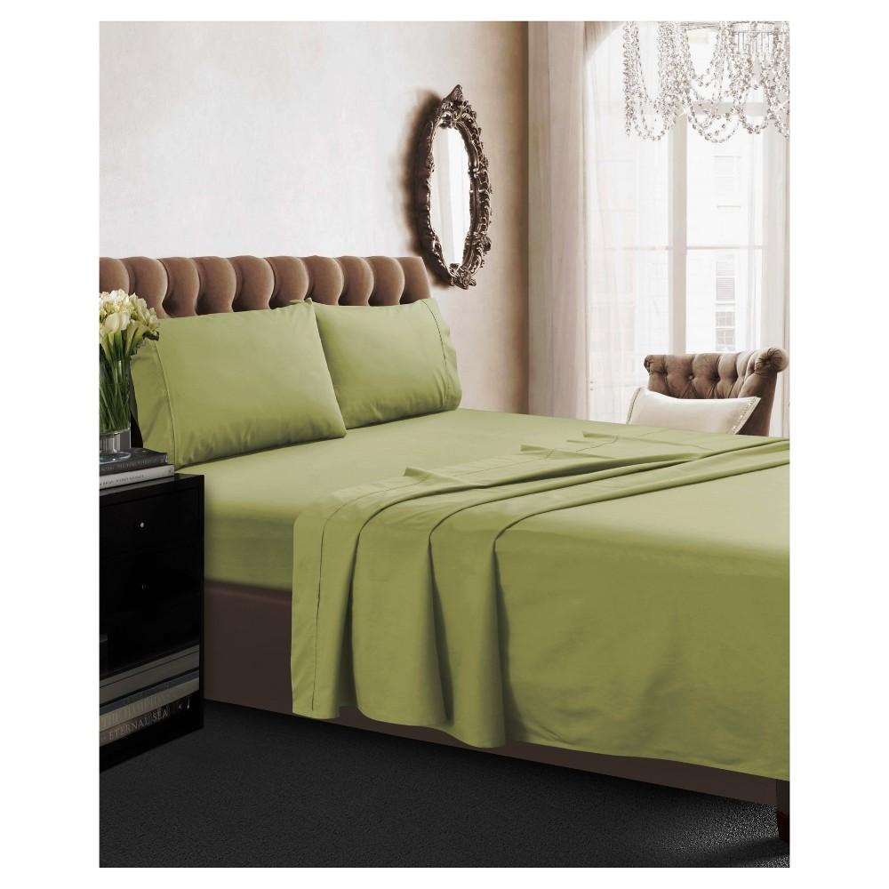 Cotton Percale Deep Pocket Solid Sheet Set (Queen) Green 350 Thread Count - Tribeca Living
