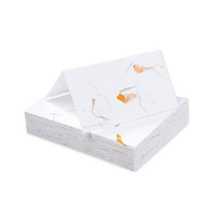 Sustainable Greetings 60-Pack Marigold Flower Handmade Blank Seating Tent Table Number Signs Place Cards, 2 x 3.5 in