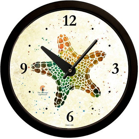 "14.5"" Artist Series Rich Green Starfish Decorative Clock Black - The Chicago Lighthouse - image 1 of 2"