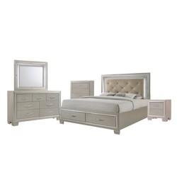 Glamour Platform Storage 3pc Bedroom Set Champagne - Picket House Furnishings