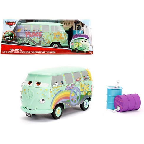 Disney Pixar Cars Movie Fillmore With Oil Cans Diecast Model Car