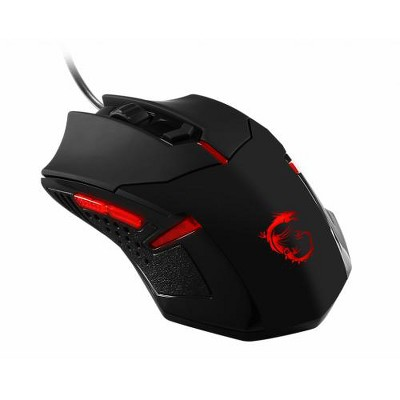 MSI Interceptor Gaming Mouse Black & Red - 1600 dpi movement resolution - USB Wired Connectivity - 1 x wheel Scrolling Capability