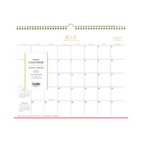 """2021-22 Academic Wall Calendar 15""""x12"""" Monthly Wirebound Skinny Mini - The Home Edit - image 1 of 4"""