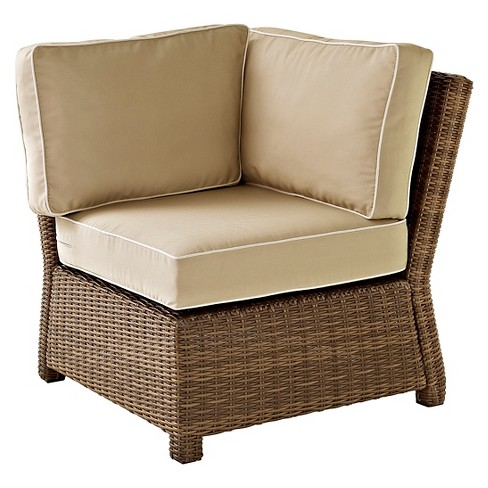 Crosley Bradenton Outdoor Wicker Sectional Corner Chair - Sand - image 1 of 3