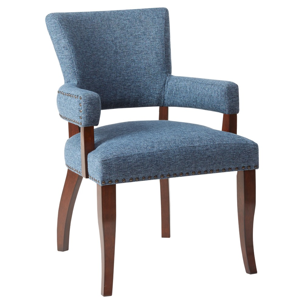 Nail head-outlined Bracken Dining Chair has a smart, sleek presence in perfectly-matched, crisply-outfitted uptown spaces. Assembly required. Color: Blue. Pattern: Solid.