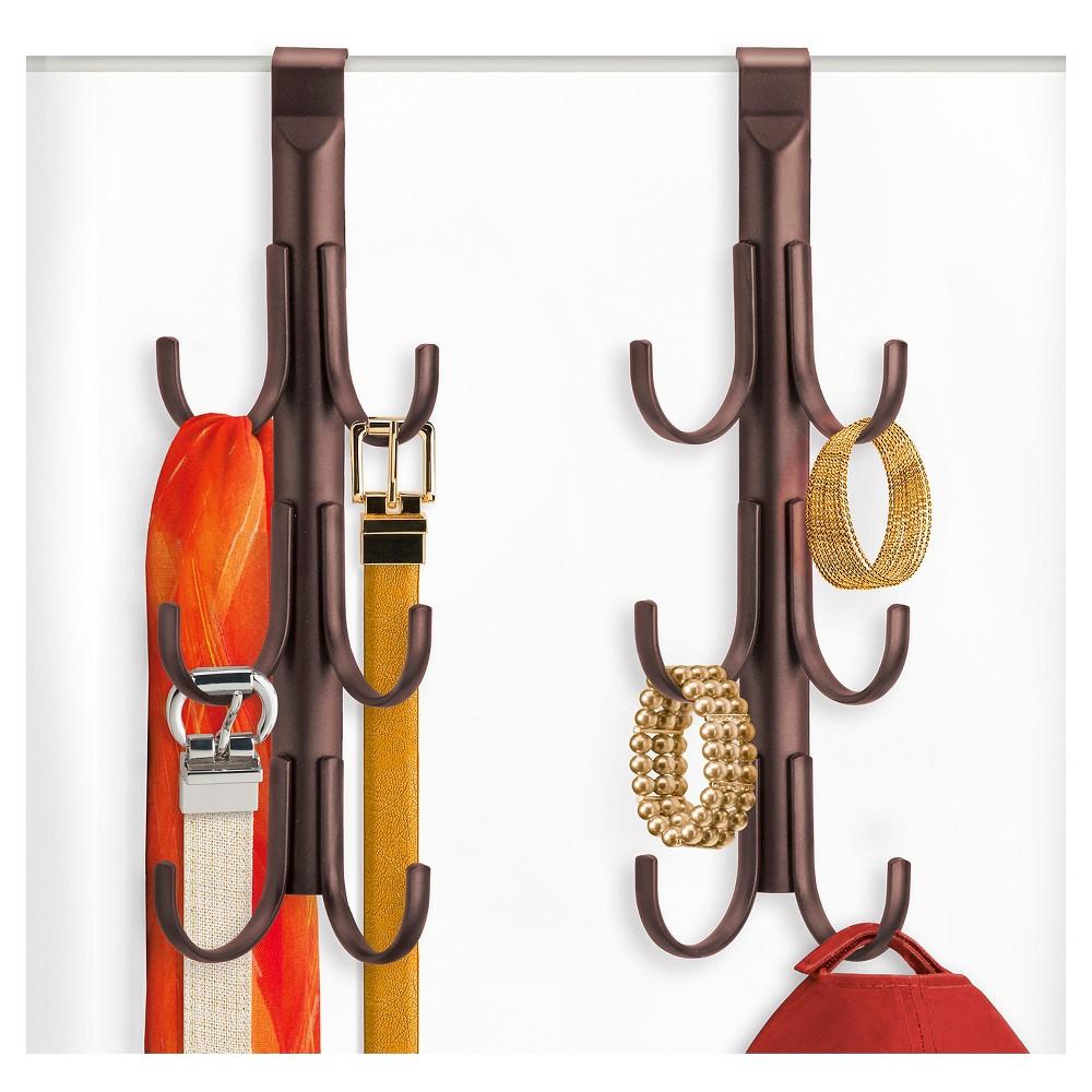 Image of Lynk Over Door Accessory Hanger (Set of 2) - Vertical 6 Hook Rack - Bronze
