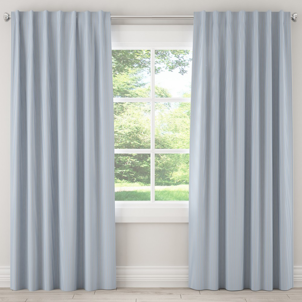"Image of ""108L Unlined Curtain Oxford Stripe Navy - Cloth & Co., Size: 50""""x108"""", Blue"""