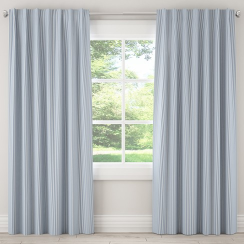 Unlined Curtain Oxford Stripe Navy - Skyline Furniture - image 1 of 5