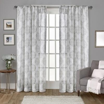 Nagano Belgian Linen Ikat Print Rod Pocket Window Curtain Panel Pair Exclusive Home
