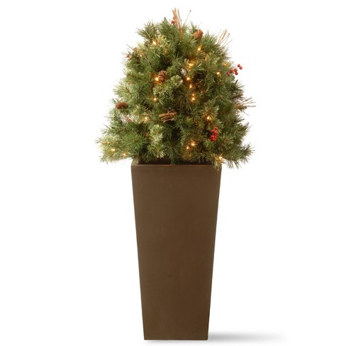 National Tree Company 4ft Glistening Pine Berries & Pine Cones Artificial Bush 70ct Clear - image 1 of 1