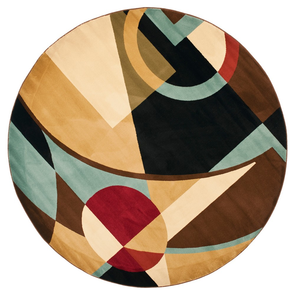 Black/Multi Abstract Loomed Round Area Rug - (7' Round) - Safavieh