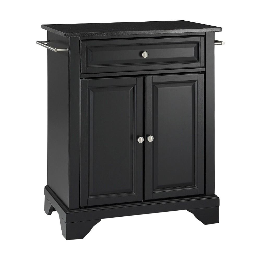 LaFayette Solid Black Granite Top Portable Kitchen Island - Black - Crosley