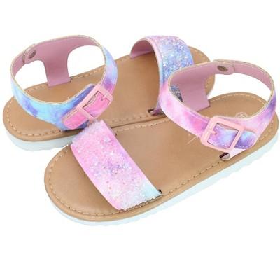 Nicole Miller Toddler Girls' Hardsole Sandals with Rhinestones