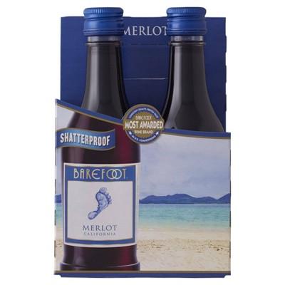 Barefoot Merlot Red Wine - 4pk/187ml Bottles