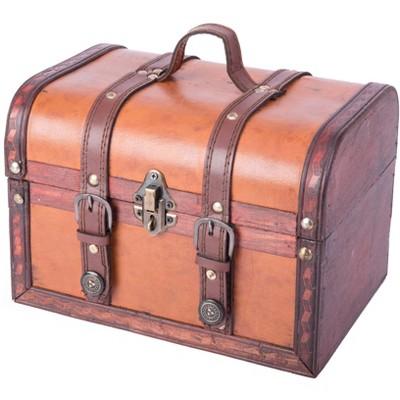 Vintiquewise Decorative Leather Treasure Boxes
