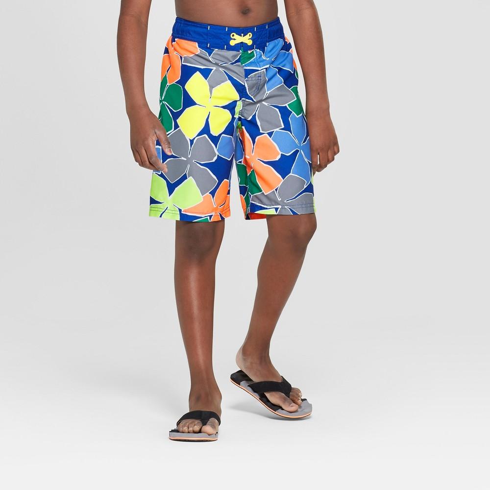 Boys' Big Floral Print Swim Trunks - Cat & Jack Blue S