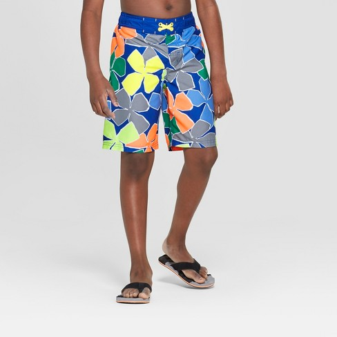 Boys' Big Floral Print Swim Trunks - Cat & Jack™ Blue - image 1 of 3