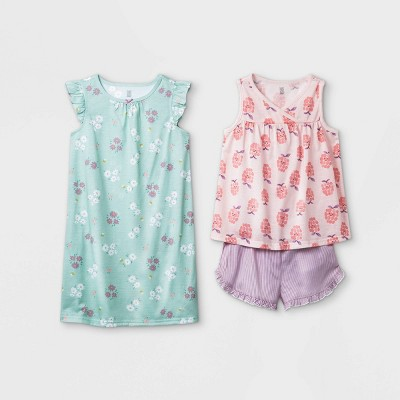 Girls' 3pc Raspberry Floral Pajama Set - Just One You® made by carter's Green