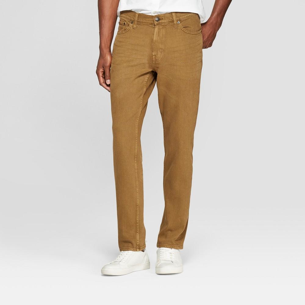 Men's Athletic Fit Jeans - Goodfellow & Co Dark Khaki 40x30, Beige