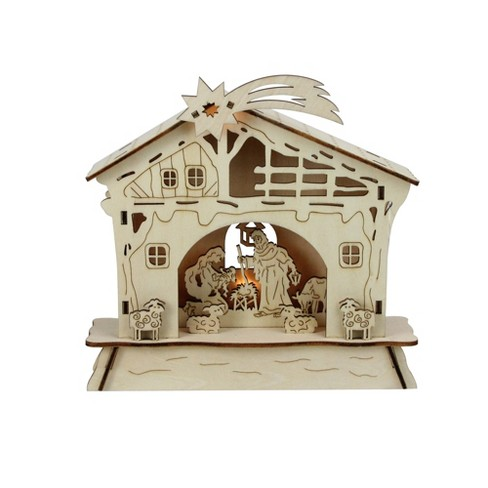 """Roman 6.5"""" LED Lighted Wooden Battery Operated Nativity Scene Christmas Table Top Decoration - image 1 of 3"""