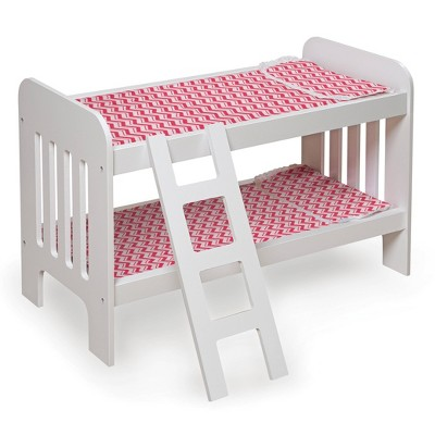 Badger Basket Doll Bunk Bed with Bedding, Ladder, and Free Personalization Kit - White/Pink/Chevron