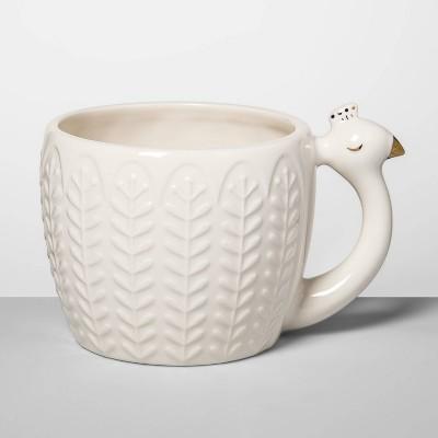 14oz Stoneware Peacock Figural Mug Cream - Opalhouse™