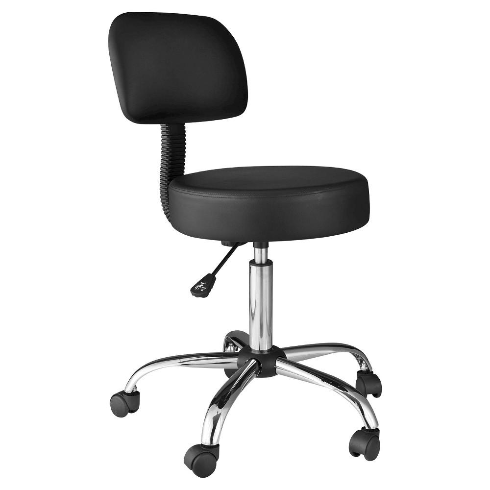 Image of OneSpace 60-1019 Medical Stool with Back Cushion, Black