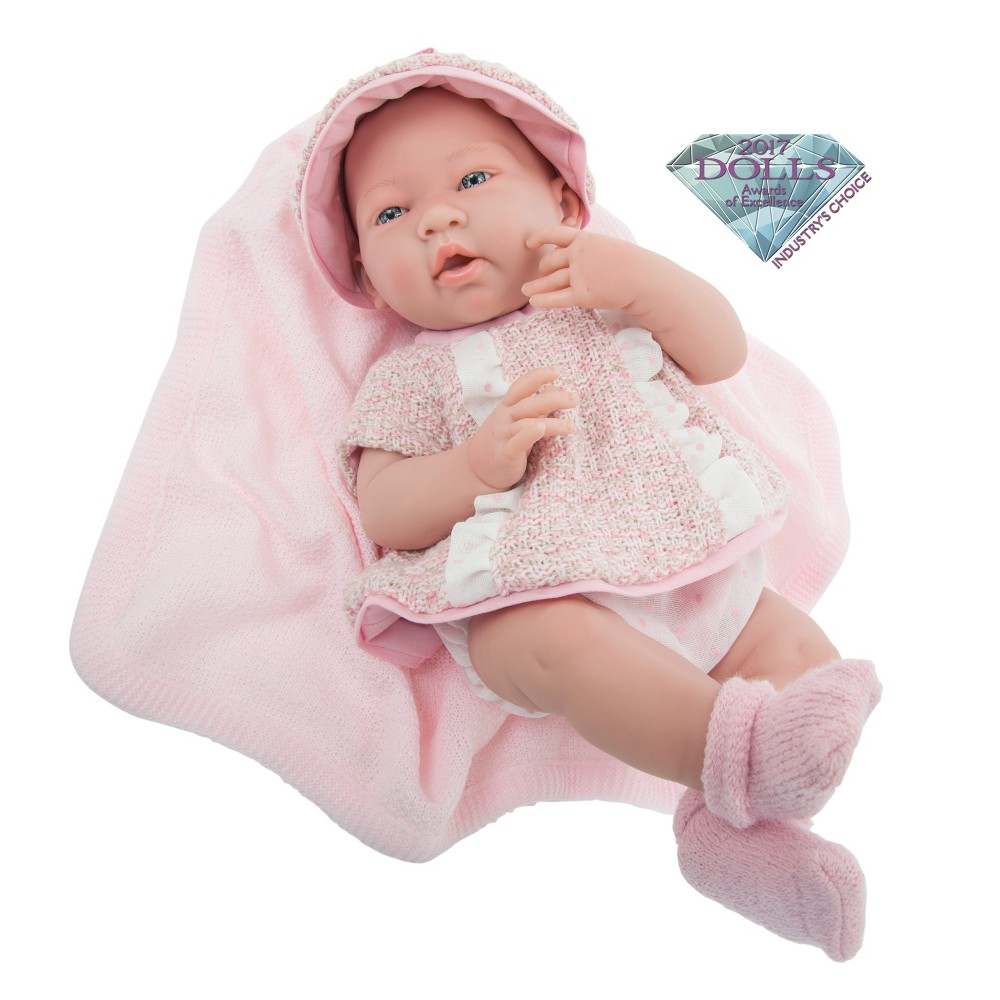 JC Toys La Newborn Real Girl 15 Baby Doll - All-Vinyl - Pink Multi-Piece Outfit with Blanket