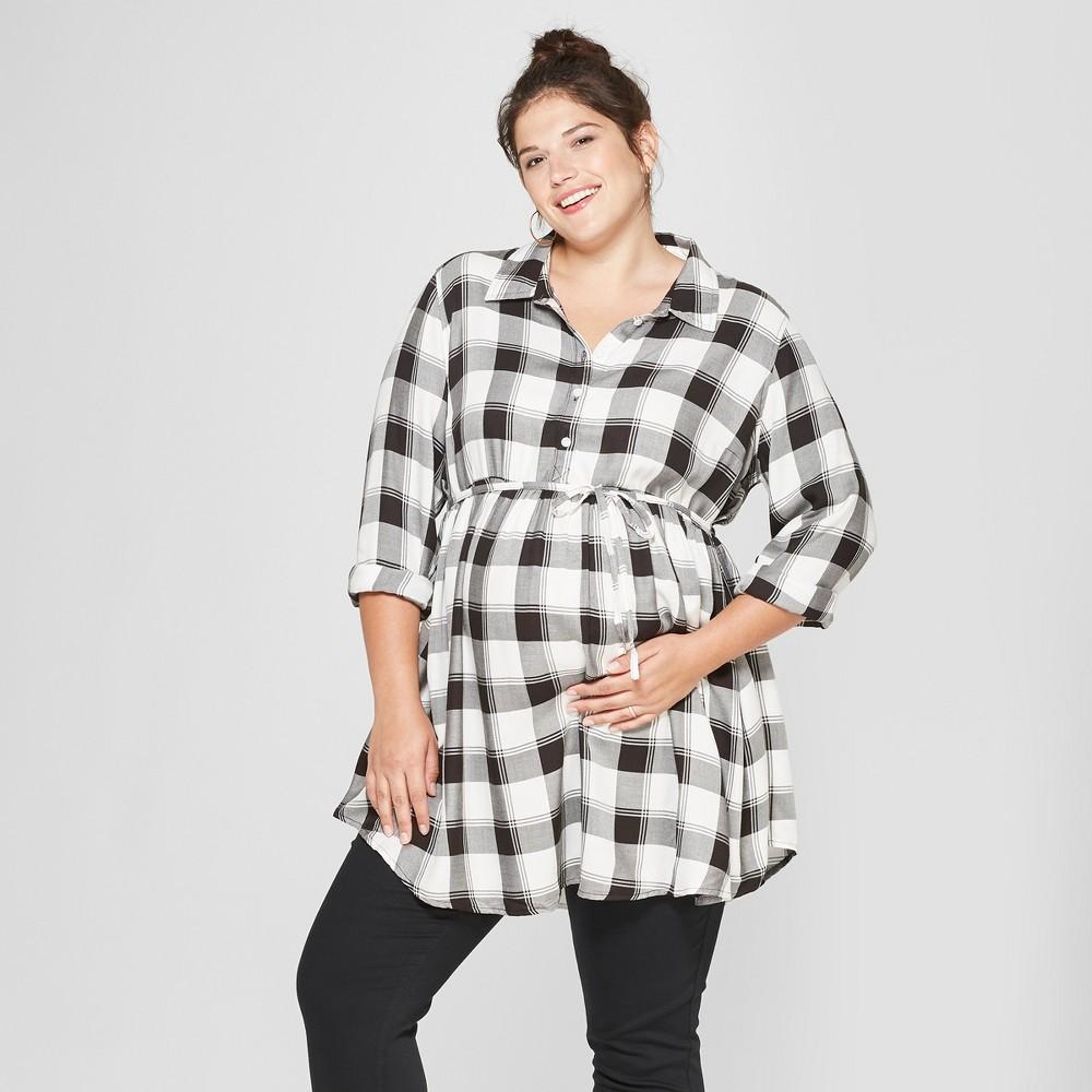 Maternity Plus Size Long Sleeve Plaid Peplum Hem Shirt - Isabel Maternity by Ingrid & Isabel Black 3X, Women's, Gray