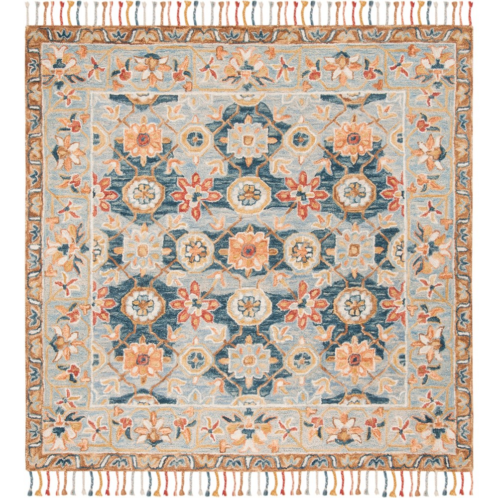 7'X7' Floral Tufted Square Area Rug Gray/Navy - Safavieh, Gray Blue