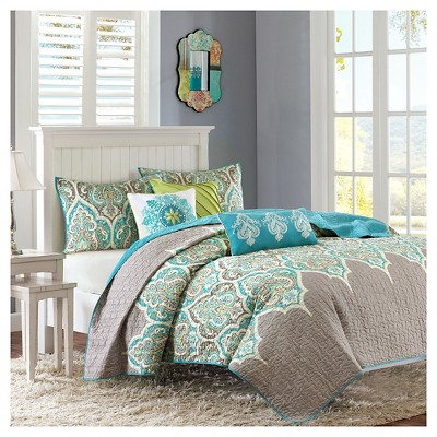 Naomi Medallion Quilted Coverlet Set (Full/Queen)Teal - 6pc