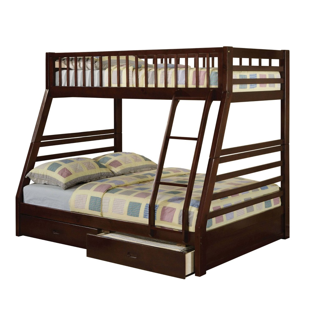 Twin Over Full Jason 2 Drawers Bunk Bed Espresso (Brown) - Acme