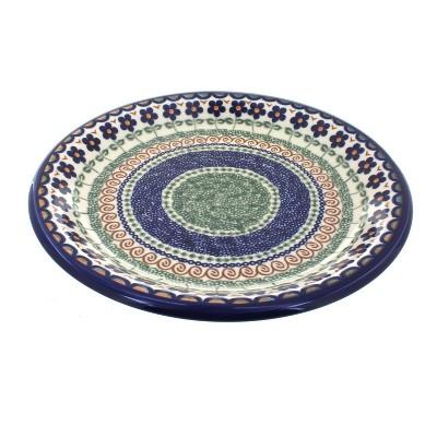 Blue Rose Polish Pottery Aztec Flower Dinner Plate