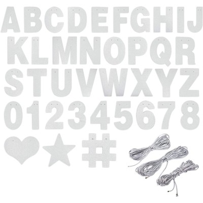Bright Creations 130 Piece DIY Silver Glitter Customizable Banner Kit with Letters, Numbers, and Symbols