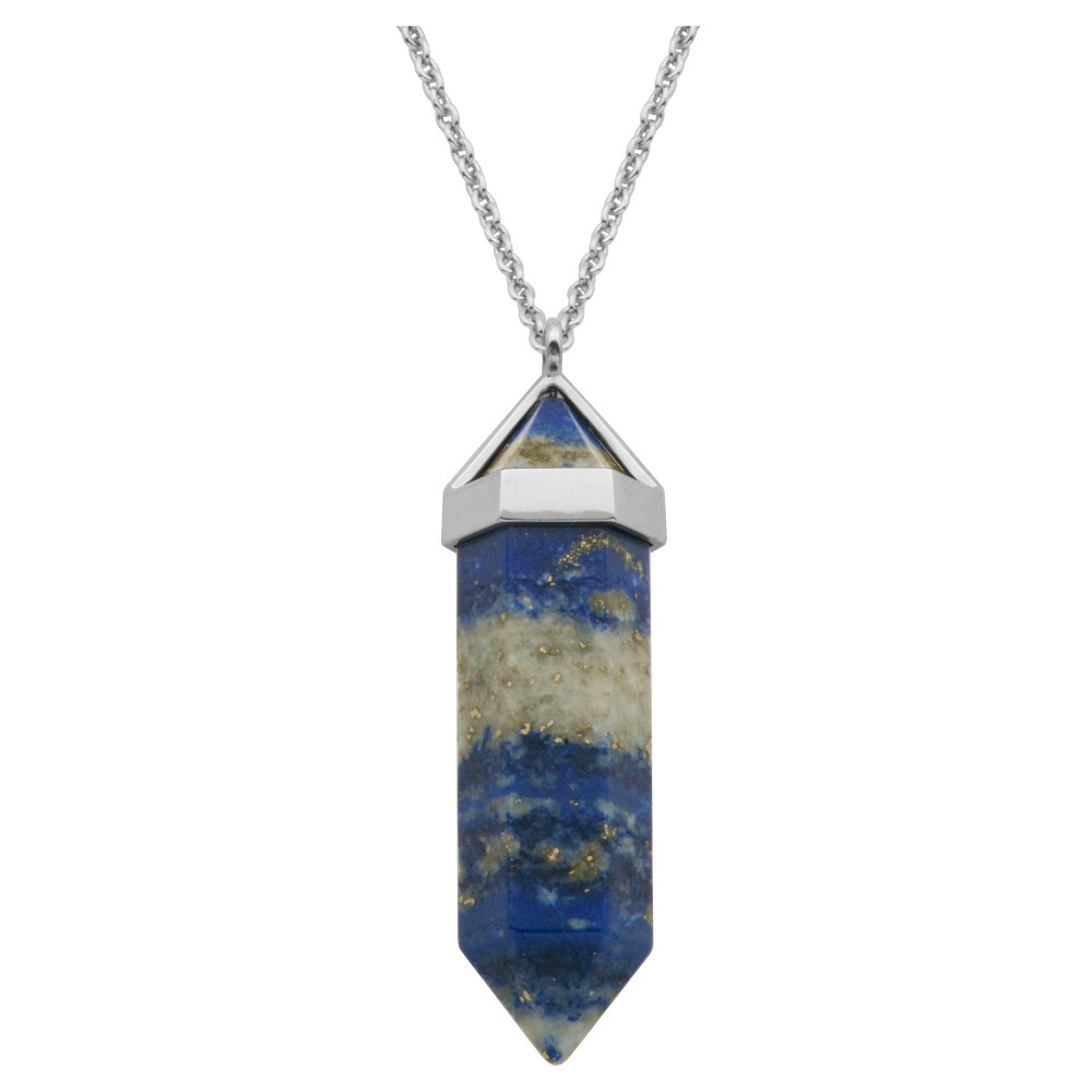 """Image of """"18k Gold Over Fine Silver Plated Bronze Genuine Lapis Lazuli Chakra Point Necklace - 24"""""""" + 2"""""""" Extender, Women's, Blue"""""""