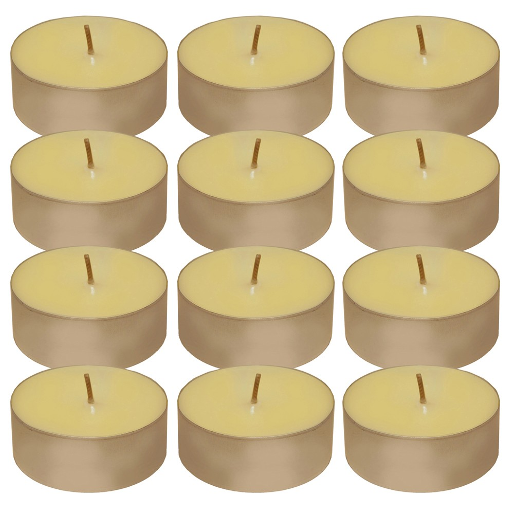 12ct Lumabase Extra Large Citronella Tea Light Candles, Beige