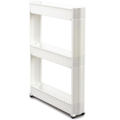 Lakeside 3-Tier Rolling Slim Cart for Tight Indoor Spaces - Compact Kitchen Storage