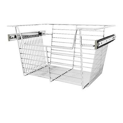 "Rev-A-Shelf Sidelines CBSL-181410CR-3 18"" Chrome Wire Pullout Storage Basket Bin Organizer for 14"" Deep Kitchen, Bathroom, or Closet Cabinet (3 Pack)"